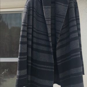 Black and grey striped cashmere sweater
